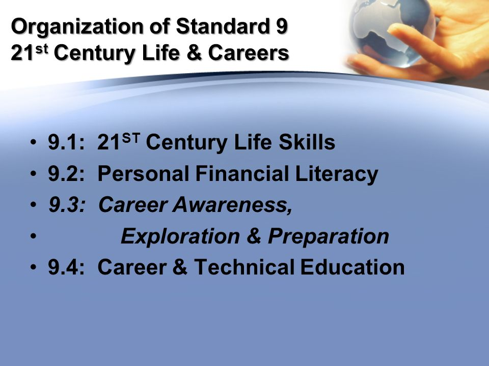 Organization of Standard 9 21 st Century Life & Careers 9.1: 21 ST Century Life Skills 9.2: Personal Financial Literacy 9.3: Career Awareness, Exploration & Preparation 9.4: Career & Technical Education