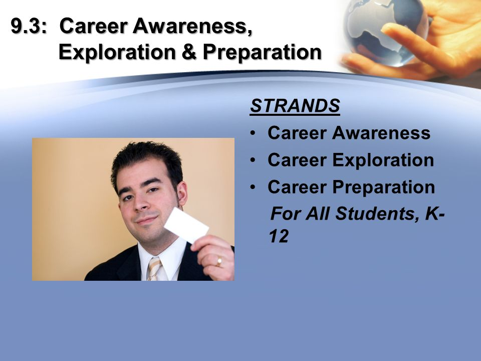 9.3: Career Awareness, Exploration & Preparation STRANDS Career Awareness Career Exploration Career Preparation For All Students, K- 12