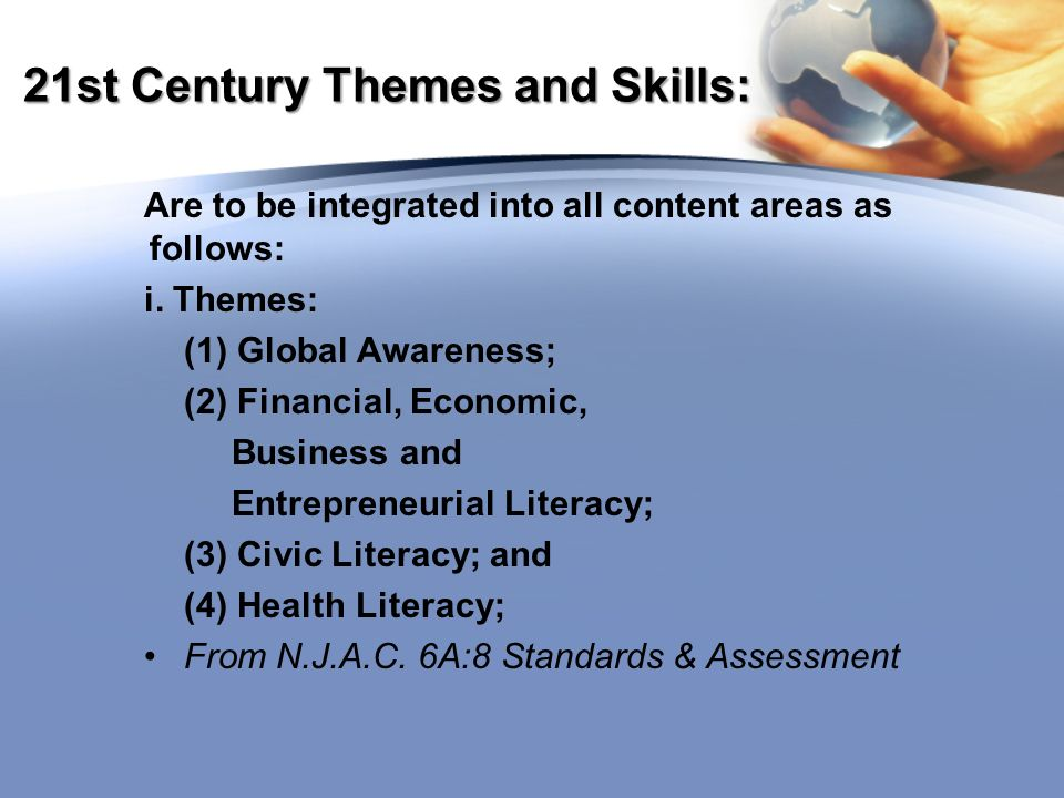 21st Century Themes and Skills: Are to be integrated into all content areas as follows: i.