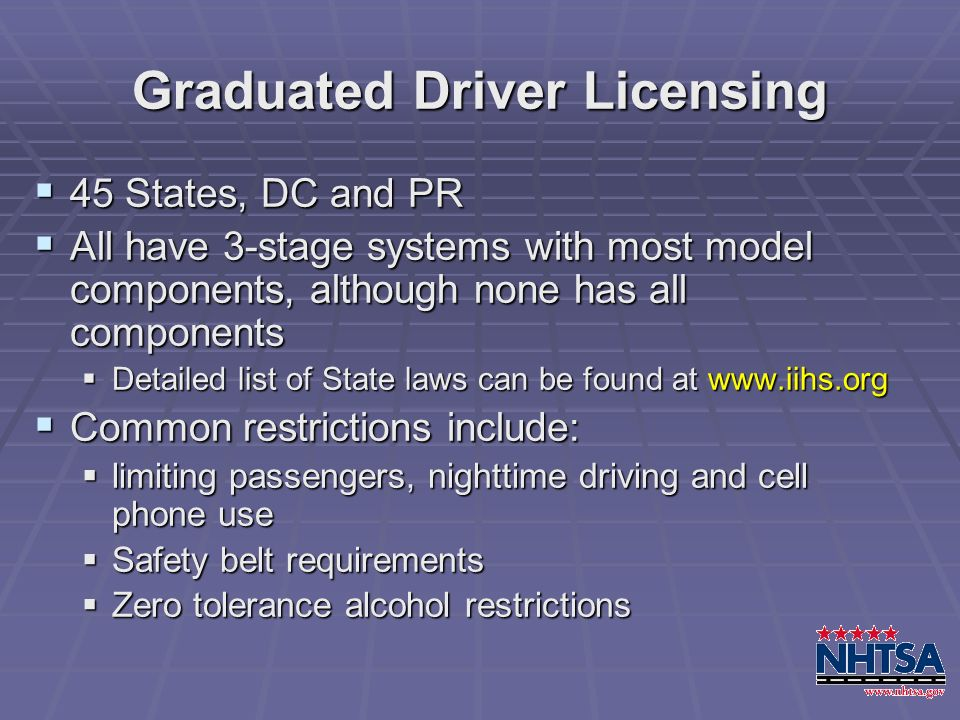 Graduated Driver Licensing 45 States, DC and PR 45 States, DC and PR All have 3-stage systems with most model components, although none has all compon