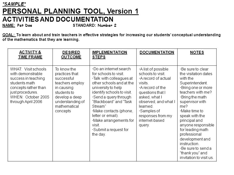 *SAMPLE* PERSONAL PLANNING TOOL, Version 1 ACTIVITIES AND DOCUMENTATION NAME: Pat Doe STANDARD: Number 2 GOAL: To learn about and train teachers in ef