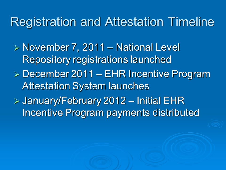 Registration and Attestation Timeline November 7, 2011 – National Level Repository registrations launched November 7, 2011 – National Level Repository