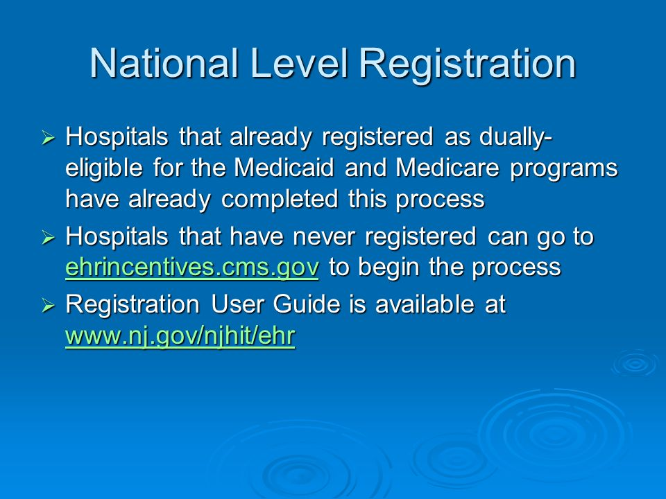 National Level Registration Hospitals that already registered as dually- eligible for the Medicaid and Medicare programs have already completed this p