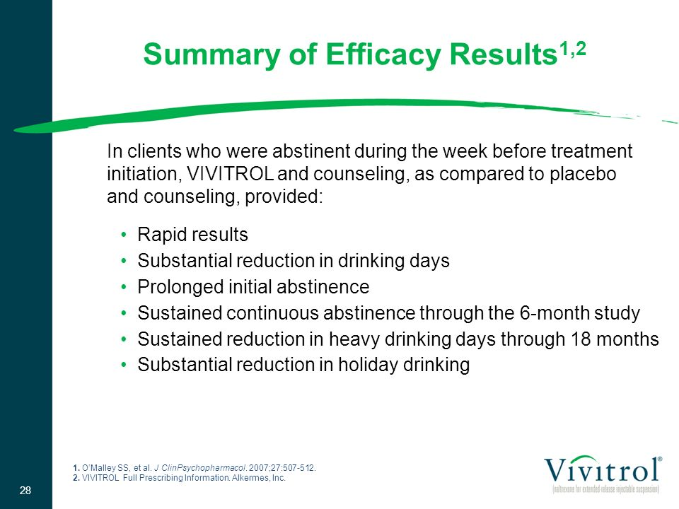 Rapid results Substantial reduction in drinking days Prolonged initial abstinence Sustained continuous abstinence through the 6-month study Sustained