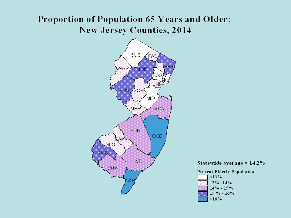 Projections of County Population by Age Bergen, Ocean, Middlesex and Essex counties will continue to have the largest number of senior citizens (65 or