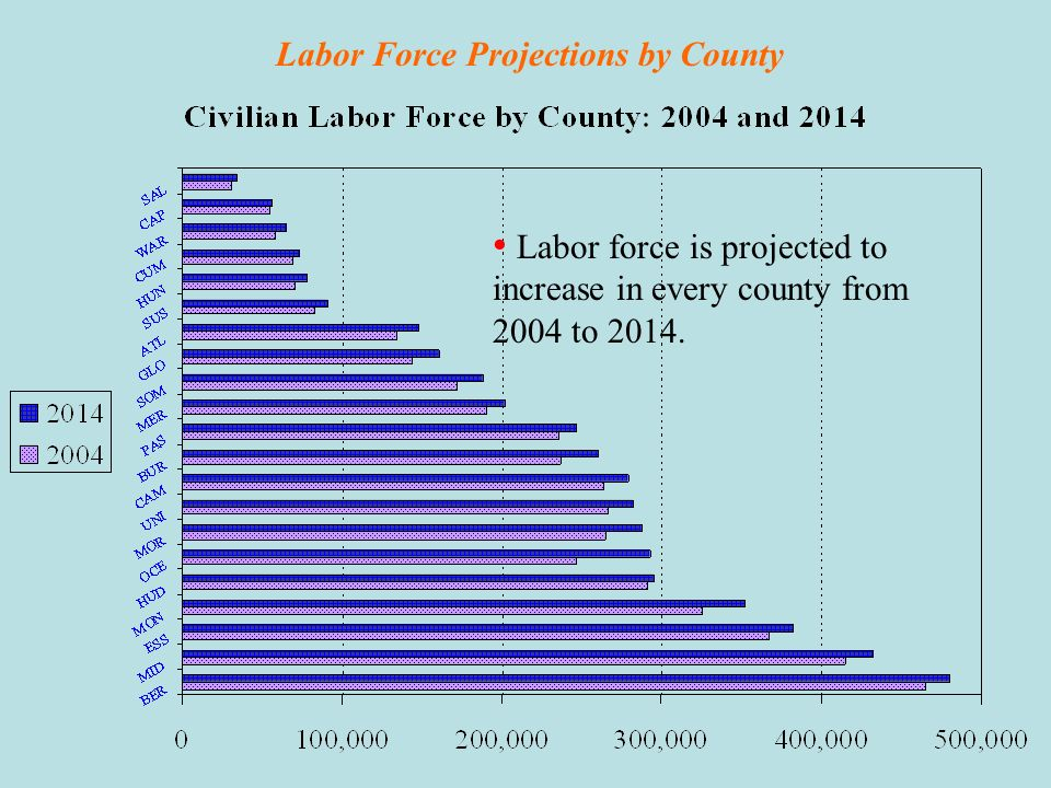 Labor Force Projections for New Jersey Overview Growth of Population and Labor Force: New Jersey, 1980 - 2014 New Jerseys civilian labor force is proj