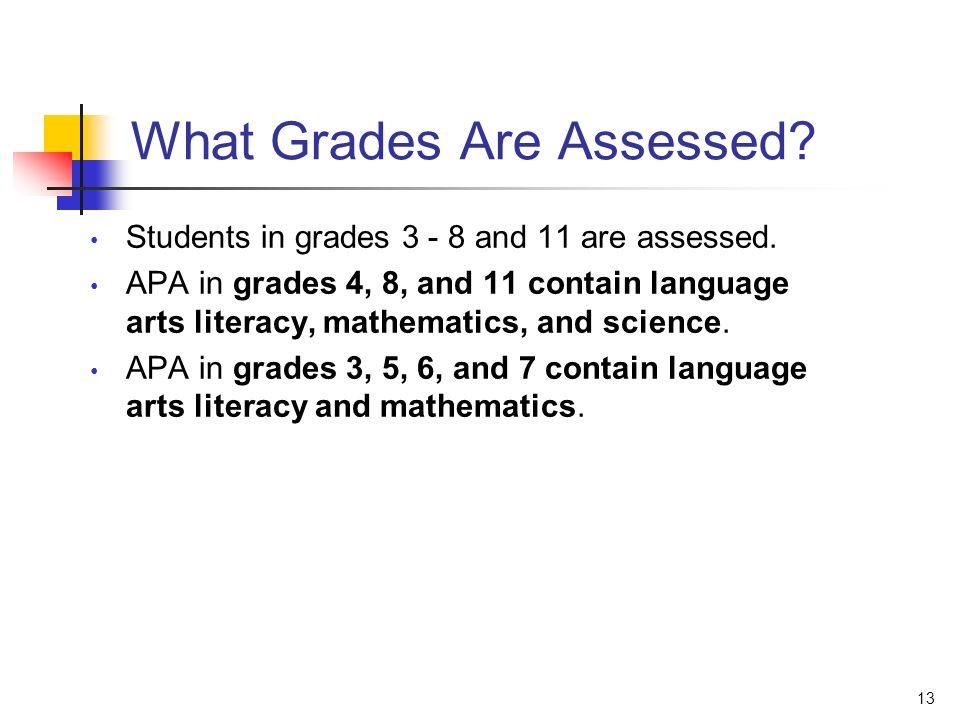 13 What Grades Are Assessed? Students in grades 3 - 8 and 11 are assessed. APA in grades 4, 8, and 11 contain language arts literacy, mathematics, and
