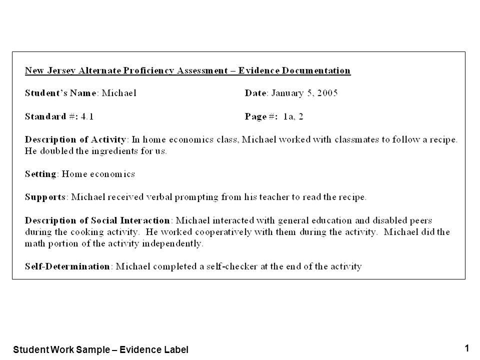 1 Student Work Sample – Evidence Label