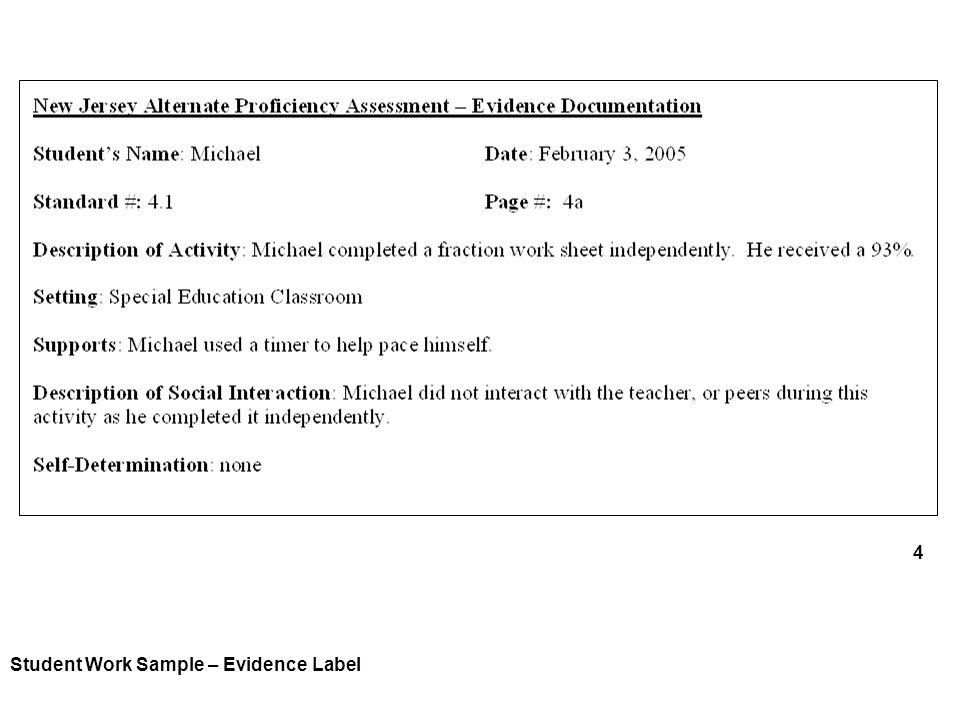 4 Student Work Sample – Evidence Label