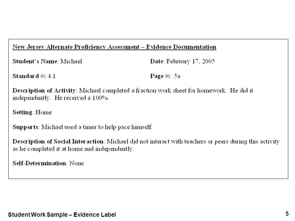 5 Student Work Sample – Evidence Label