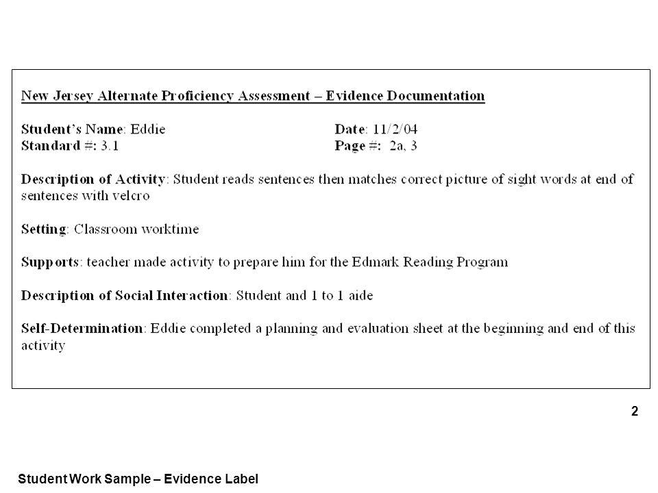 Student Work Sample – Evidence Label 2