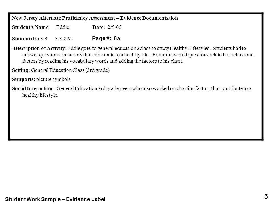 New Jersey Alternate Proficiency Assessment – Evidence Documentation Students Name: Eddie Date: 2/5/05 Standard #: 3.3 3.3.8A2 Page #: 5a Description