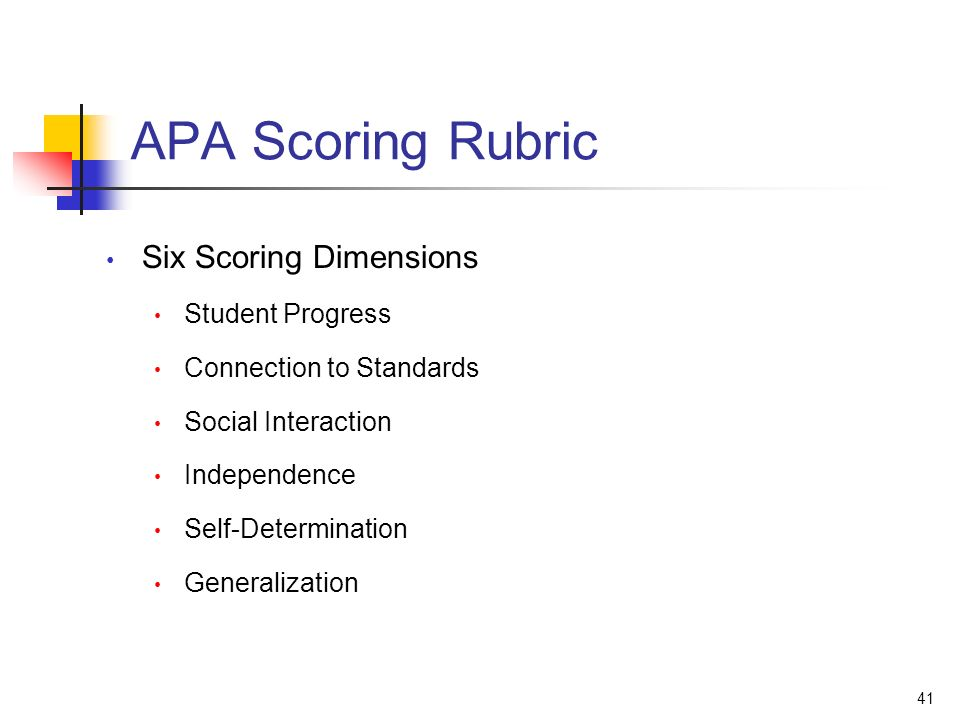 41 APA Scoring Rubric Six Scoring Dimensions Student Progress Connection to Standards Social Interaction Independence Self-Determination Generalization
