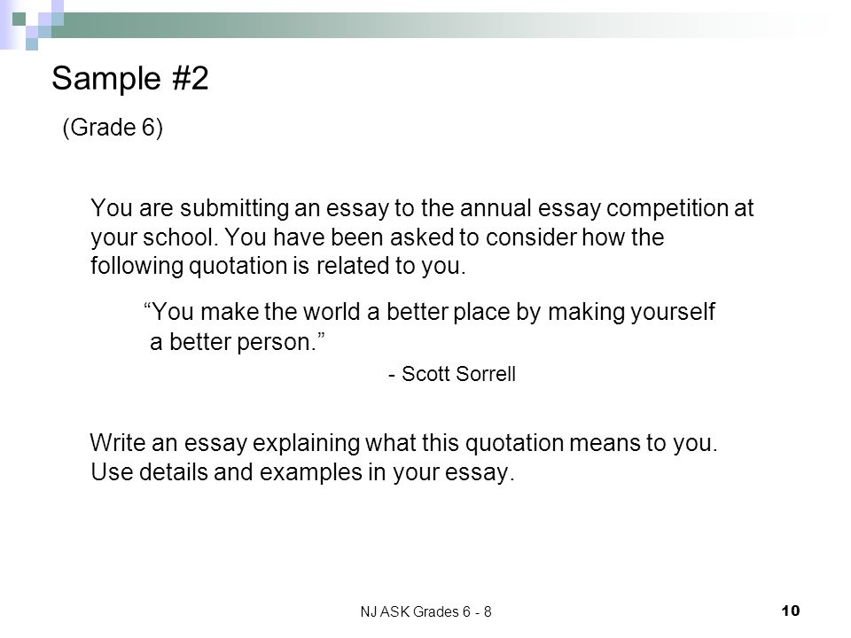 NJ ASK Grades 6 - 8 10 Sample #2 (Grade 6) You are submitting an essay to the annual essay competition at your school.