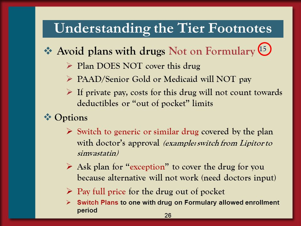 27 Not on Formulary 4 By law this drug is EXCLUDED from being covered under Medicare program.