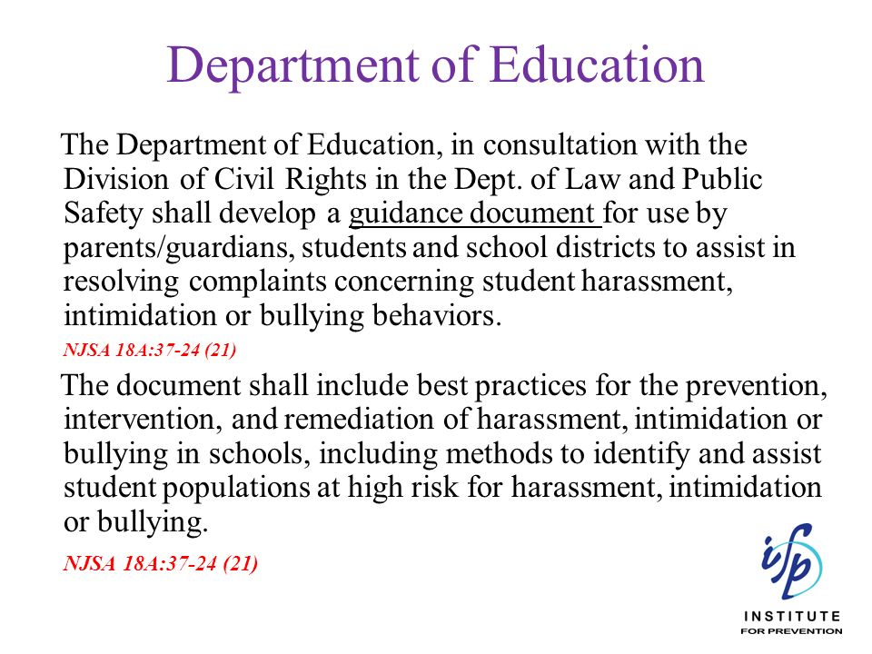 The Department of Education, in consultation with the Division of Civil Rights in the Dept. of Law and Public Safety shall develop a guidance document