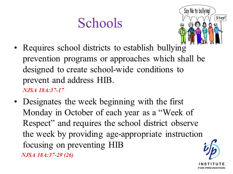 Schools Requires school districts to establish bullying prevention programs or approaches which shall be designed to create school-wide conditions to