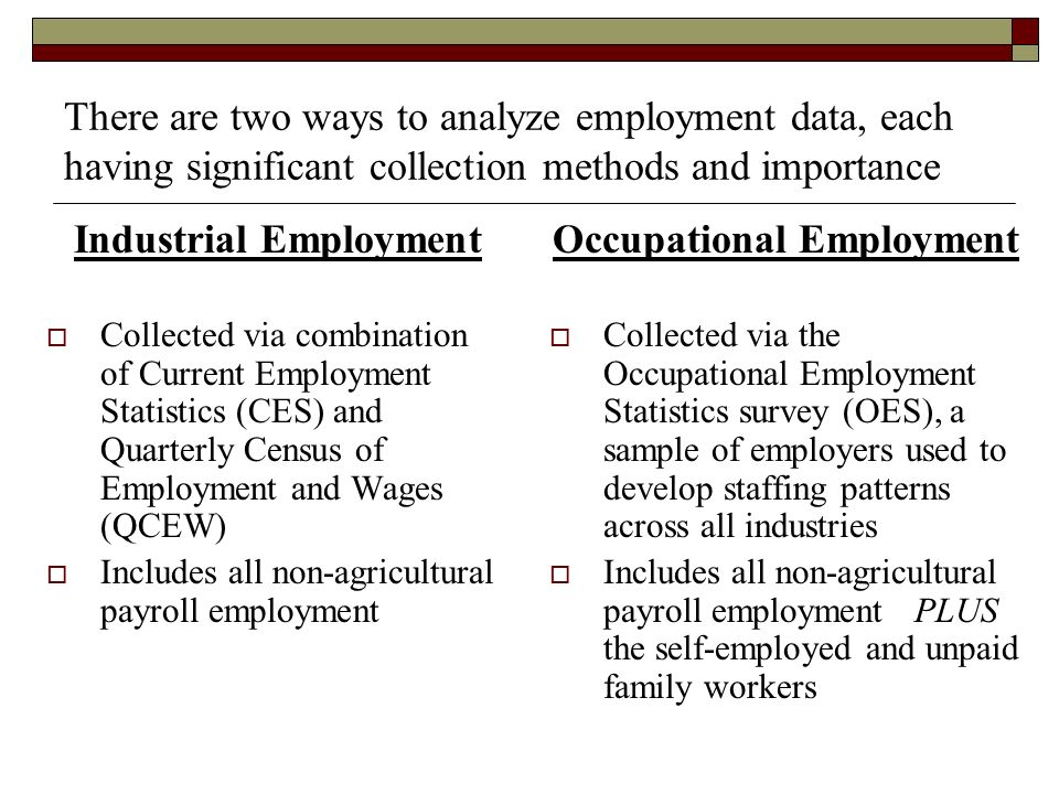 There are two ways to analyze employment data, each having significant collection methods and importance Industrial Employment Collected via combination of Current Employment Statistics (CES) and Quarterly Census of Employment and Wages (QCEW) Includes all non-agricultural payroll employment Occupational Employment Collected via the Occupational Employment Statistics survey (OES), a sample of employers used to develop staffing patterns across all industries Includes all non-agricultural payroll employment PLUS the self-employed and unpaid family workers