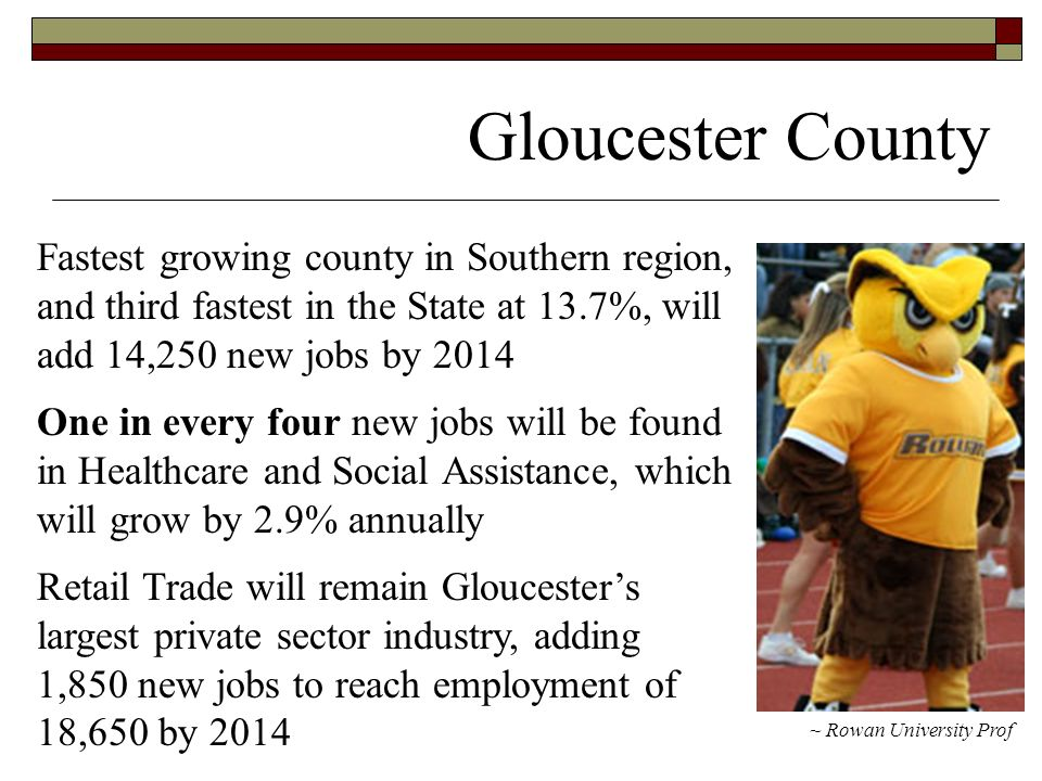 Gloucester County ~ Rowan University Prof Fastest growing county in Southern region, and third fastest in the State at 13.7%, will add 14,250 new jobs by 2014 One in every four new jobs will be found in Healthcare and Social Assistance, which will grow by 2.9% annually Retail Trade will remain Gloucesters largest private sector industry, adding 1,850 new jobs to reach employment of 18,650 by 2014