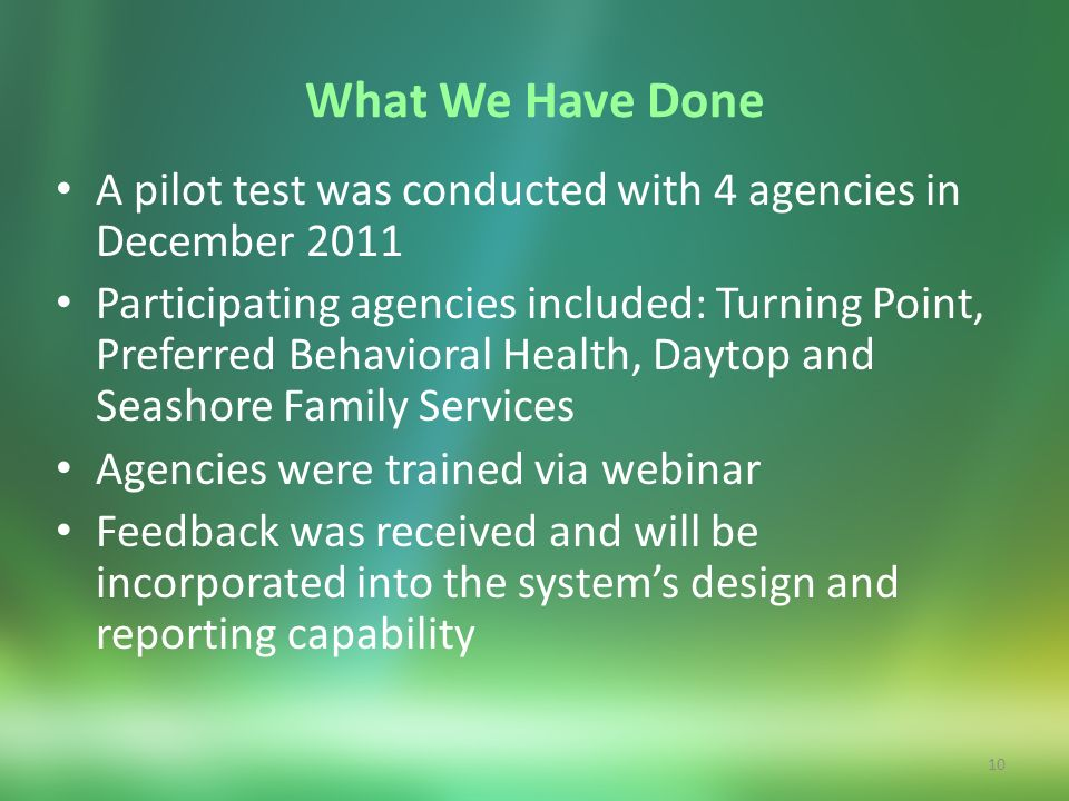 10 What We Have Done A pilot test was conducted with 4 agencies in December 2011 Participating agencies included: Turning Point, Preferred Behavioral
