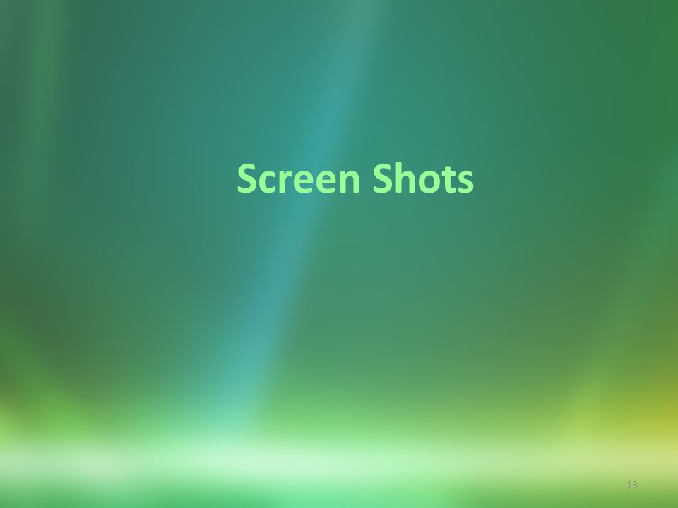 13 Screen Shots