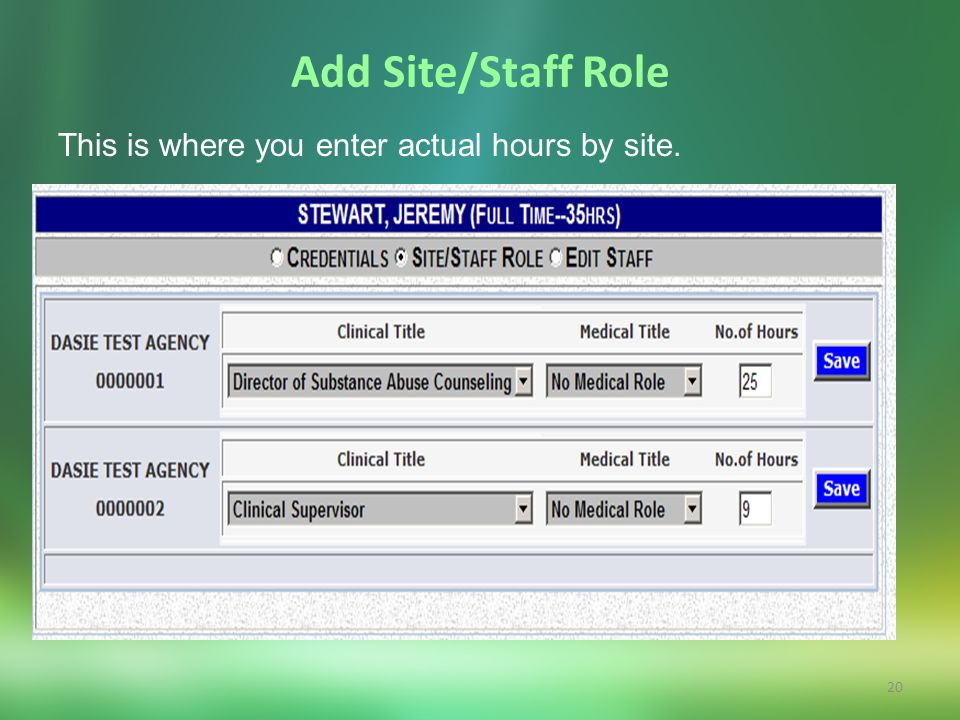 20 Add Site/Staff Role This is where you enter actual hours by site.