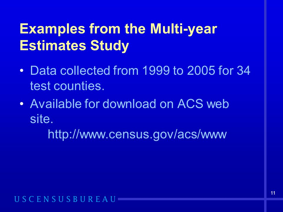 11 Examples from the Multi-year Estimates Study Data collected from 1999 to 2005 for 34 test counties. Available for download on ACS web site. http://