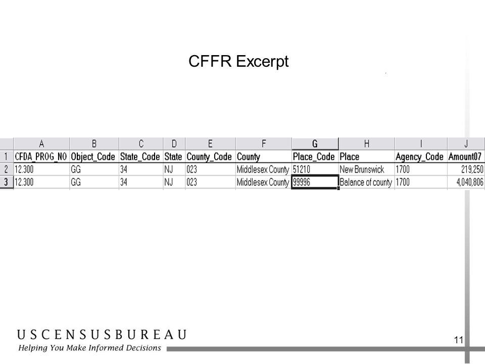 11 CFFR Excerpt