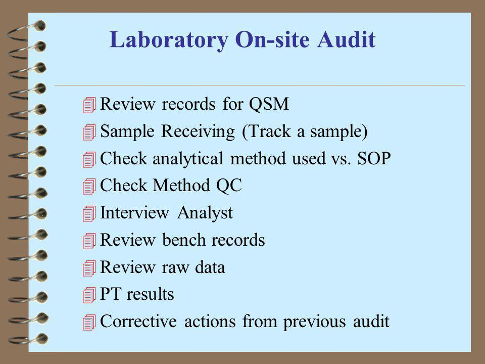 Laboratory On-site Audit 4 Review records for QSM 4 Sample Receiving (Track a sample) 4 Check analytical method used vs. SOP 4 Check Method QC 4 Inter