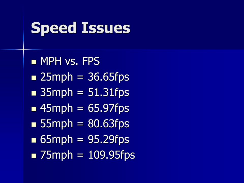 Speed Issues MPH vs.FPS MPH vs.
