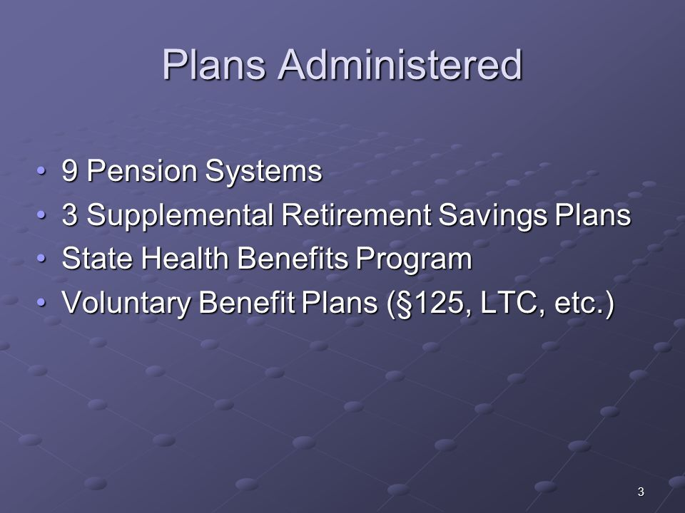 3 Plans Administered 9 Pension Systems9 Pension Systems 3 Supplemental Retirement Savings Plans3 Supplemental Retirement Savings Plans State Health Be