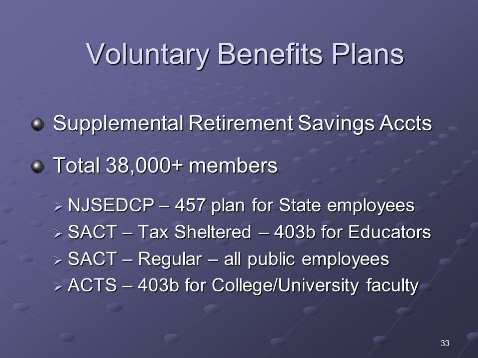33 Voluntary Benefits Plans Supplemental Retirement Savings Accts Supplemental Retirement Savings Accts Total 38,000+ members Total 38,000+ members NJ