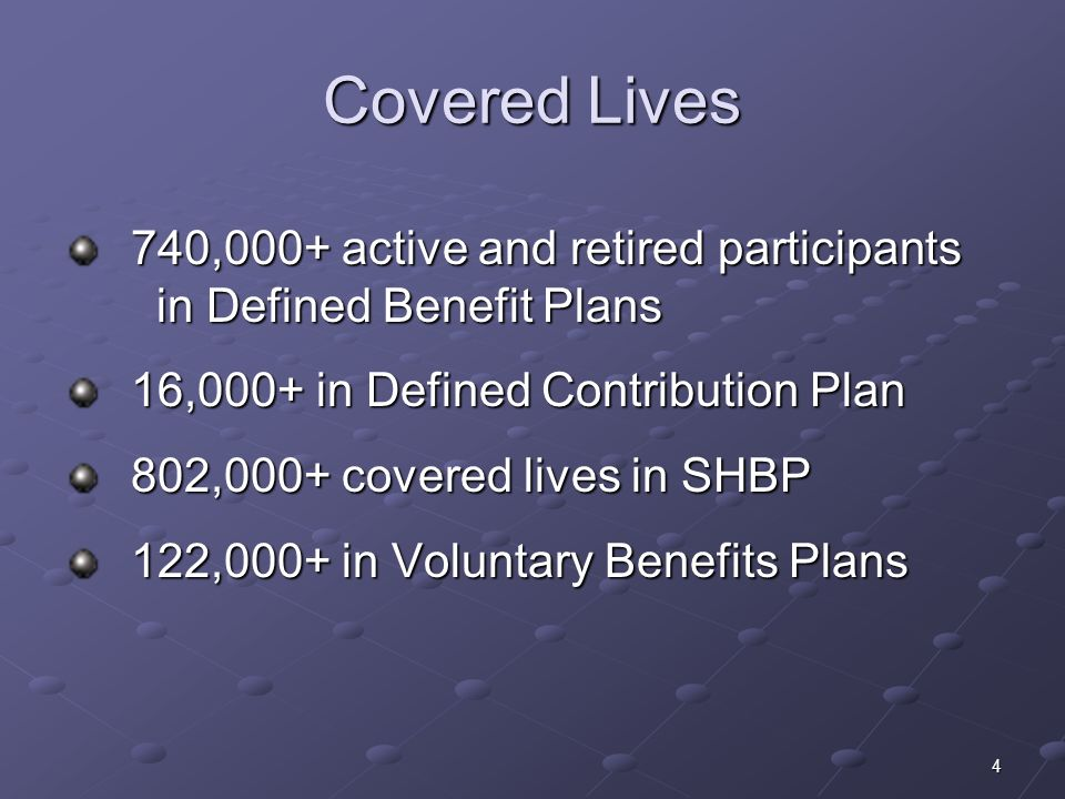 4 Covered Lives 740,000+ active and retired participants in Defined Benefit Plans 740,000+ active and retired participants in Defined Benefit Plans 16