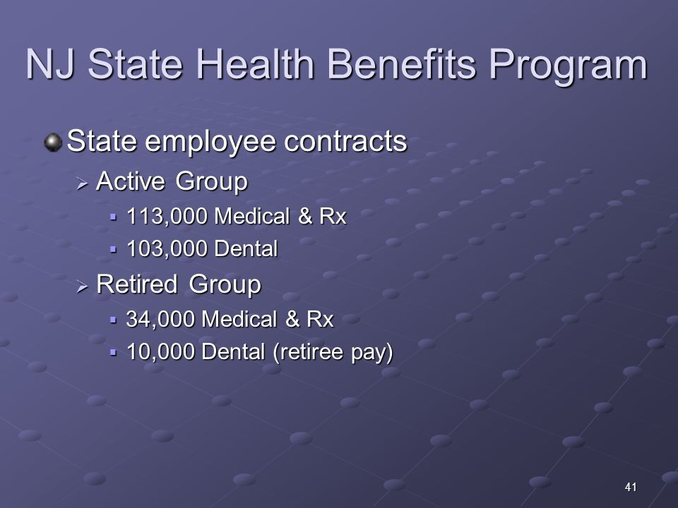 41 NJ State Health Benefits Program State employee contracts Active Group Active Group 113,000 Medical & Rx 113,000 Medical & Rx 103,000 Dental 103,00