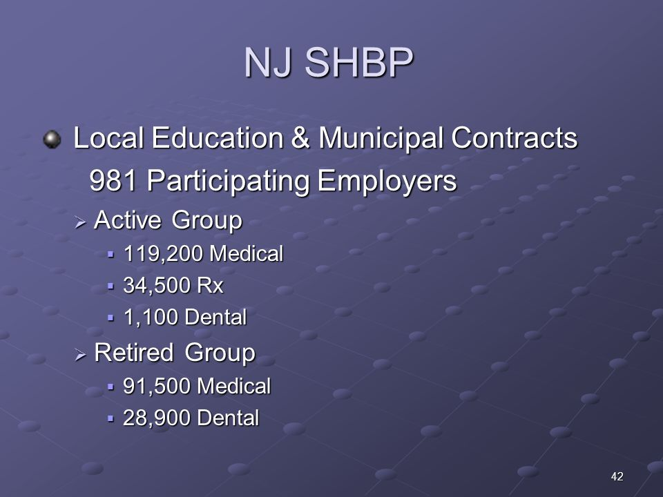 42 NJ SHBP Local Education & Municipal Contracts Local Education & Municipal Contracts 981 Participating Employers 981 Participating Employers Active