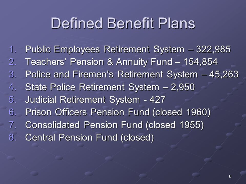 6 Defined Benefit Plans 1.Public Employees Retirement System – 322,985 2.Teachers Pension & Annuity Fund – 154,854 3.Police and Firemens Retirement Sy