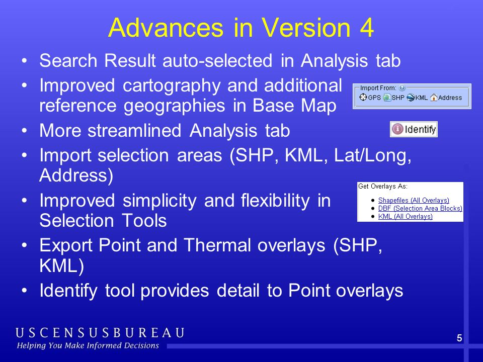 Advances in Version 4 Search Result auto-selected in Analysis tab Improved cartography and additional reference geographies in Base Map More streamlined Analysis tab Import selection areas (SHP, KML, Lat/Long, Address) Improved simplicity and flexibility in Selection Tools Export Point and Thermal overlays (SHP, KML) Identify tool provides detail to Point overlays 5