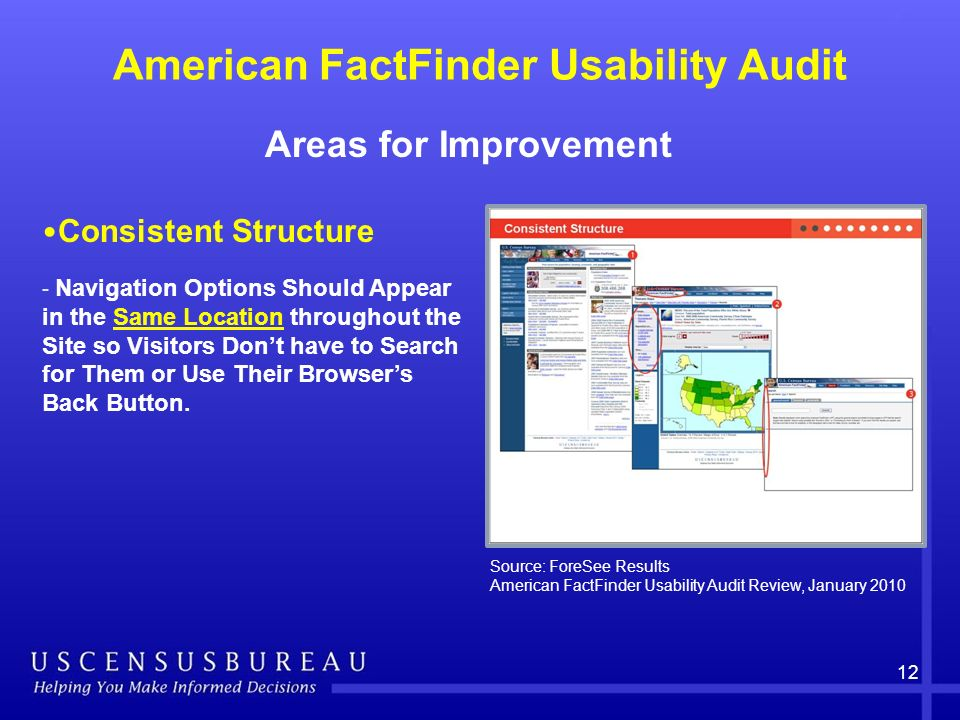 American FactFinder Usability Audit Areas for Improvement 12 Consistent Structure - Navigation Options Should Appear in the Same Location throughout the Site so Visitors Dont have to Search for Them or Use Their Browsers Back Button.