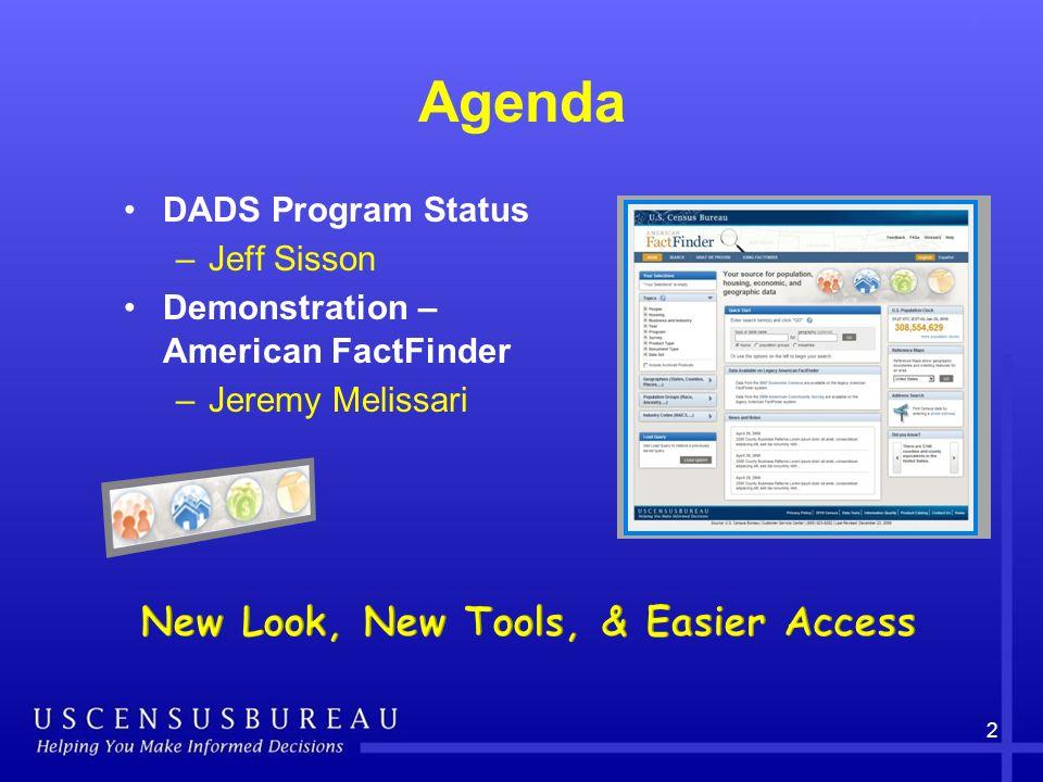 Agenda DADS Program Status –Jeff Sisson Demonstration – American FactFinder –Jeremy Melissari 2
