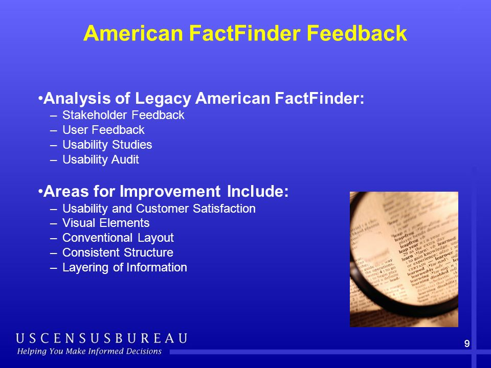 American FactFinder Feedback 9 Analysis of Legacy American FactFinder: –Stakeholder Feedback –User Feedback –Usability Studies –Usability Audit Areas for Improvement Include: –Usability and Customer Satisfaction –Visual Elements –Conventional Layout –Consistent Structure –Layering of Information
