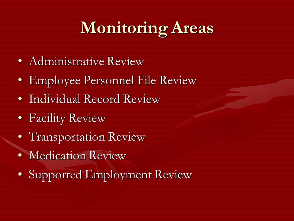 Monitoring Areas Administrative ReviewAdministrative Review Employee Personnel File ReviewEmployee Personnel File Review Individual Record ReviewIndiv