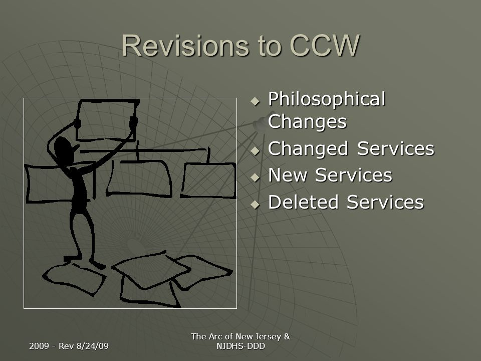 2009 - Rev 8/24/09 The Arc of New Jersey & NJDHS-DDD Revisions to CCW Philosophical Changes Philosophical Changes Changed Services Changed Services Ne