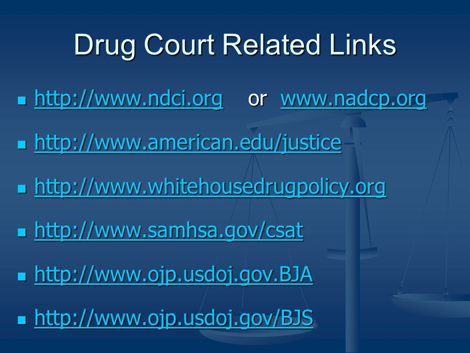 Drug Court Related Links http://www.ndci.org or www.nadcp.org http://www.ndci.org or www.nadcp.org http://www.ndci.orgwww.nadcp.org http://www.ndci.or