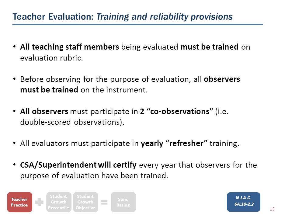 Teacher Evaluation: Training and reliability provisions All teaching staff members being evaluated must be trained on evaluation rubric.
