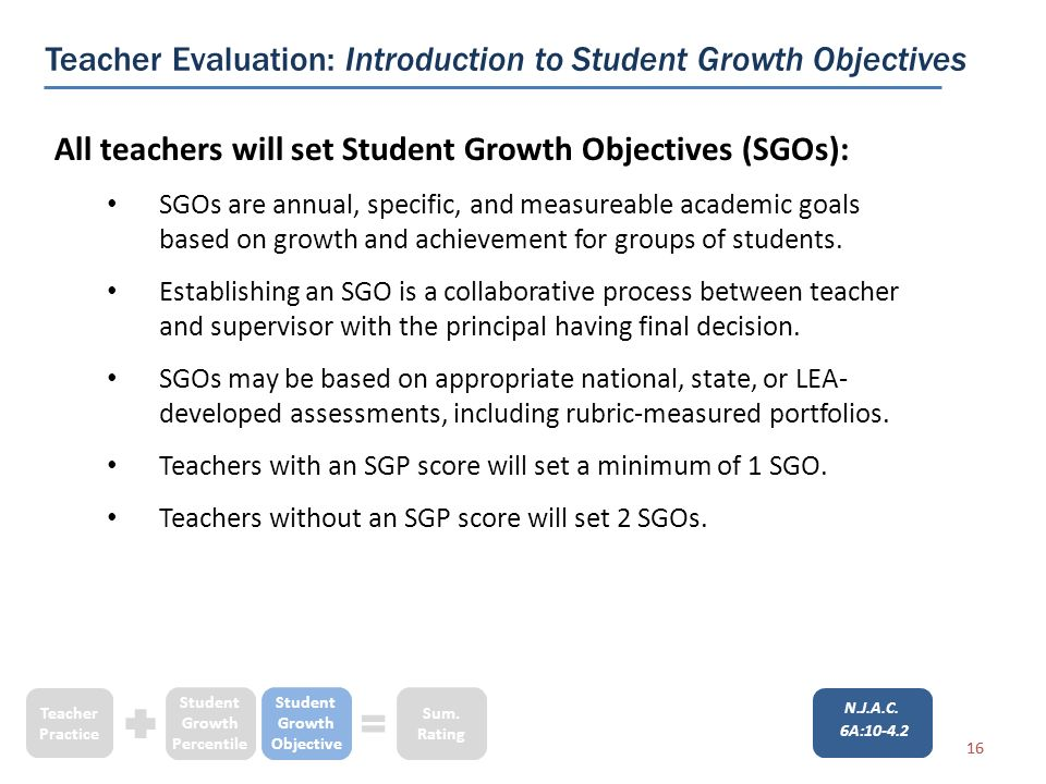 16 All teachers will set Student Growth Objectives (SGOs): SGOs are annual, specific, and measureable academic goals based on growth and achievement for groups of students.