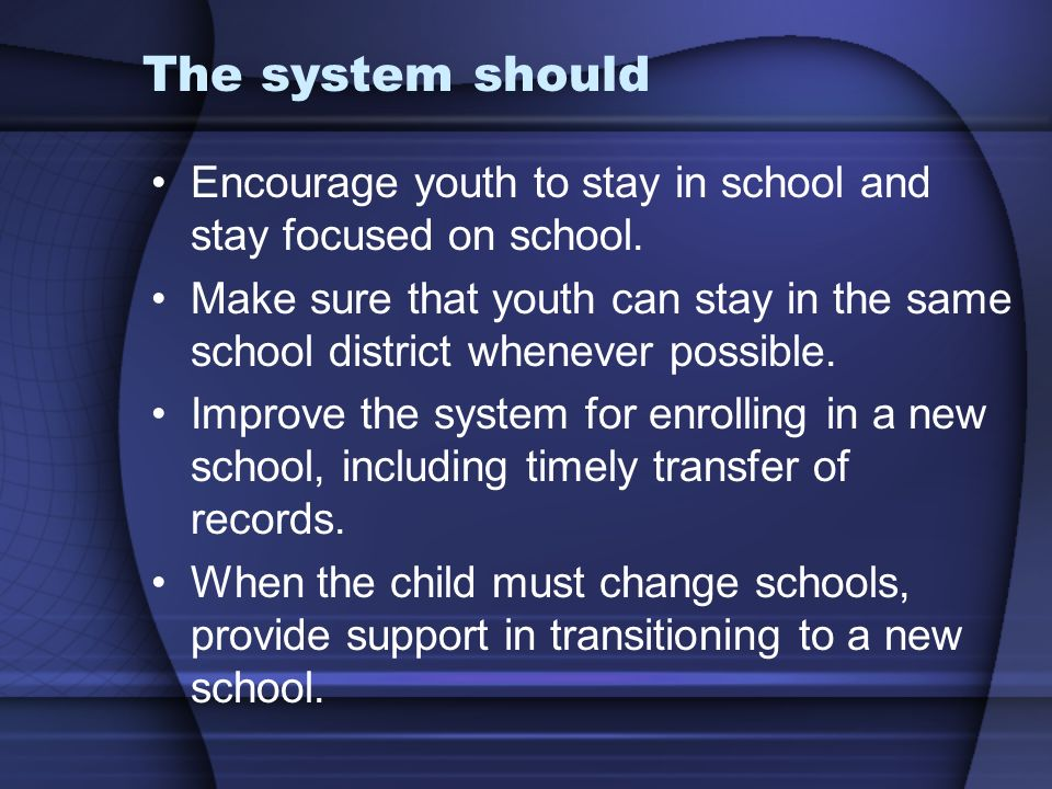 The system should Encourage youth to stay in school and stay focused on school.