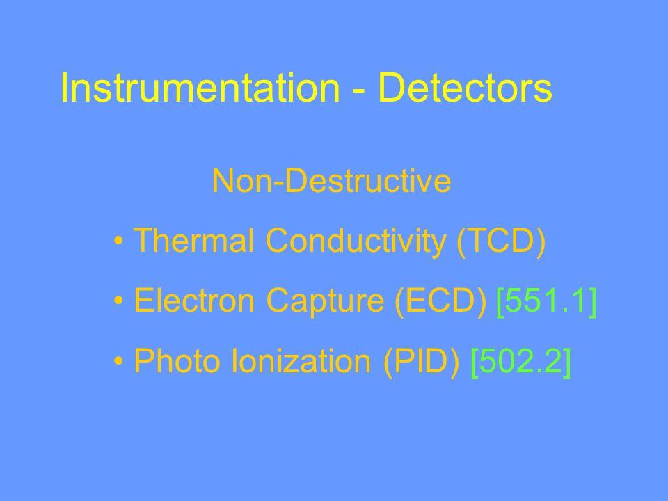 Instrumentation - Detectors Non-Destructive Thermal Conductivity (TCD) Electron Capture (ECD) [551.1] Photo Ionization (PID) [502.2]