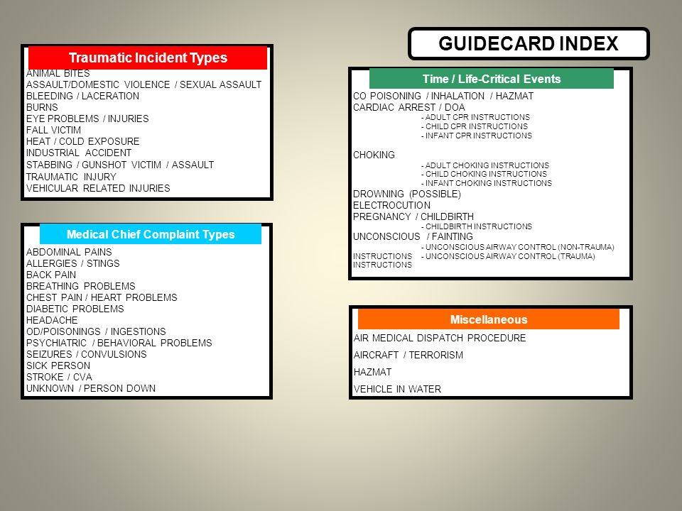 GUIDECARD INDEX Traumatic Incident Types ANIMAL BITES ASSAULT/DOMESTIC VIOLENCE / SEXUAL ASSAULT BLEEDING / LACERATION BURNS EYE PROBLEMS / INJURIES F