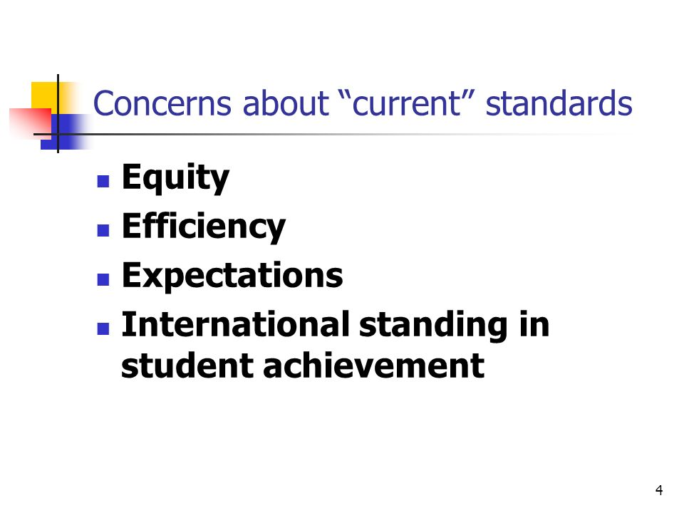 4 Concerns about current standards Equity Efficiency Expectations International standing in student achievement