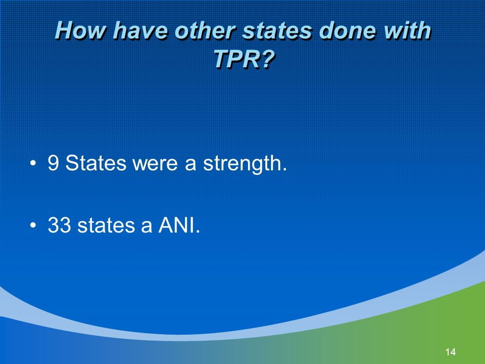 How have other states done with TPR 9 States were a strength. 33 states a ANI. 14